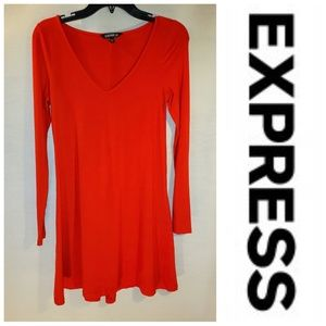 Express Red Long Sleeve Fit & Flare Dress XS